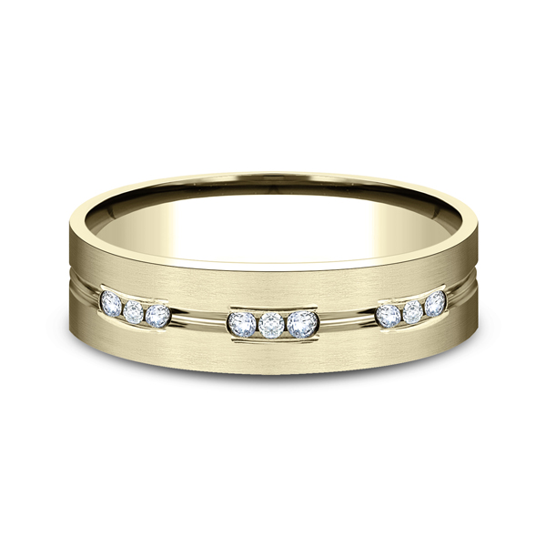 Men's Wedding Bands - Comfort-Fit Diamond Wedding Band - image 3