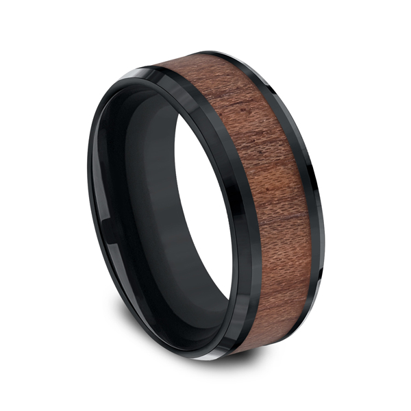 Men's Alternative Metal Wedding Bands - Black Cobalt Comfort-Fit Design Wedding Band - image #2