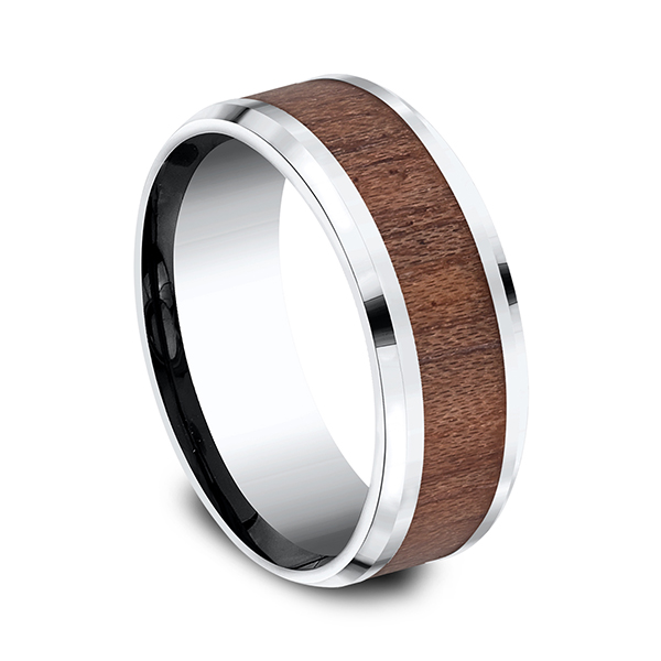Men's Wedding Bands - Cobalt and Rosewood Comfort-Fit Design Ring - image 3
