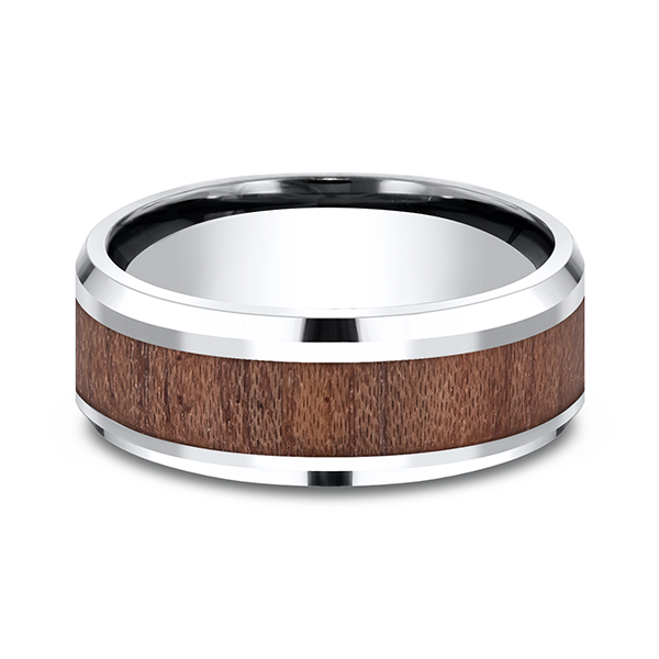 Men's Wedding Bands - Cobalt and Rosewood Comfort-Fit Design Ring - image #2