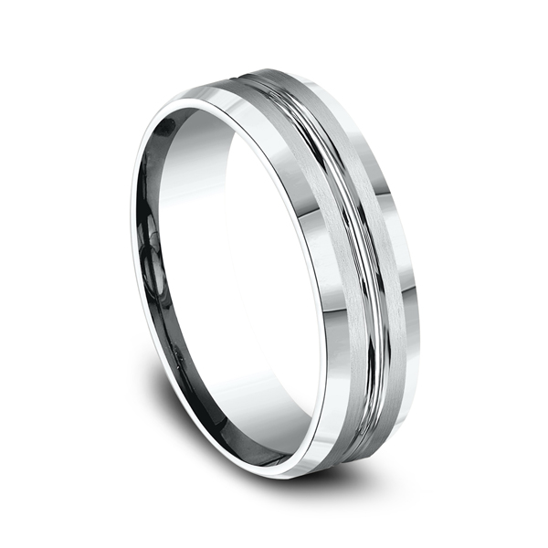 Men's Wedding Bands - Comfort-Fit Design Wedding Ring - image 2