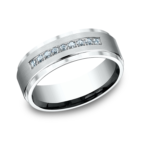 Men's Wedding Bands - Diamond Ring - image #3