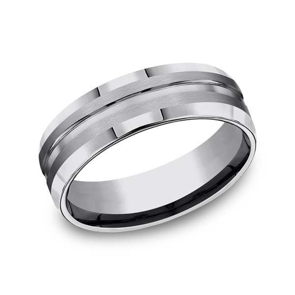 Tungsten Comfort-Fit Design Wedding Band by Forge