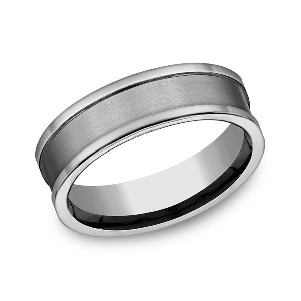 Men's Alternative Metal Wedding Bands - Tungsten Comfort-Fit Design Wedding Band