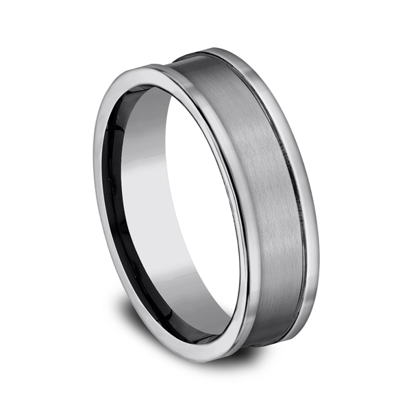 Rings - Tungsten Comfort-Fit Design Wedding Band - image #2