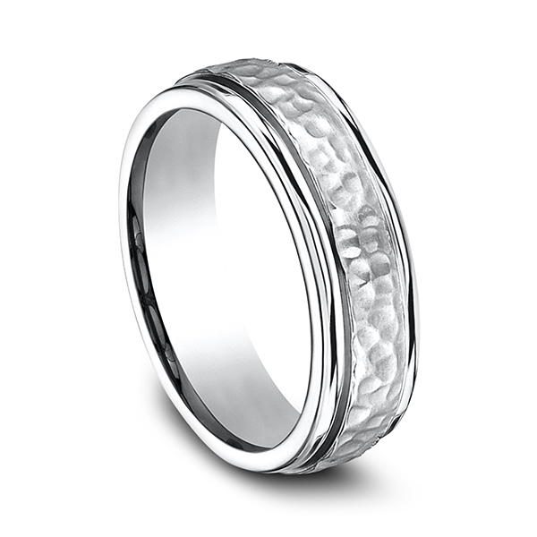 Men's Wedding Bands - Cobalt Comfort-Fit Design Ring - image #2
