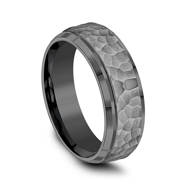 Men's Wedding Bands - Tantalum Comfort-fit Design Ring - image 3