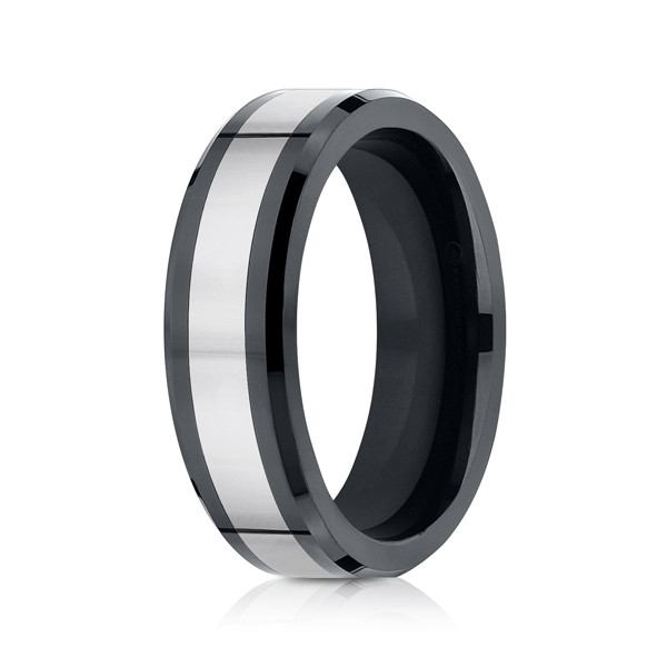 Men's Alternative Metal Wedding Bands - Tungsten and Seranite Two-Tone Comfort-Fit Wedding Band - image #2