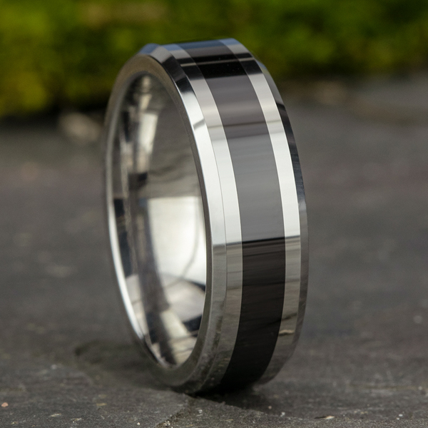 Wedding Bands - Tungsten and Seranite Two-Tone Comfort-Fit Wedding Band - image #4
