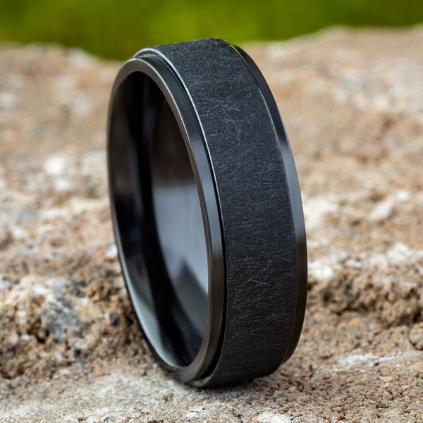 Wedding Bands - Black Titanium Comfort-Fit Design Wedding Band - image 4