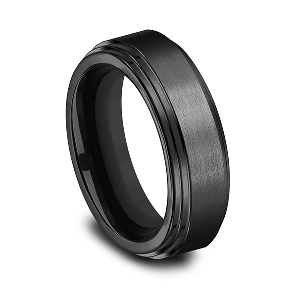 Men's Wedding Bands - Black Titanium Comfort-Fit Design Ring - image #2