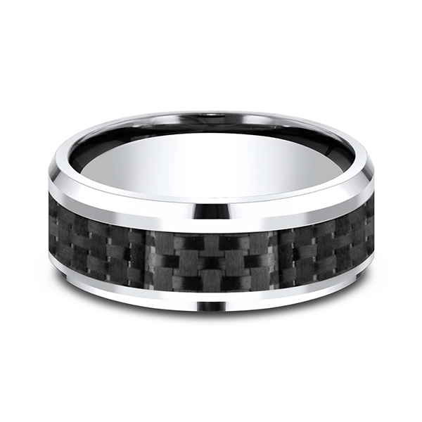 Wedding Bands - Cobalt and Carbon Fiber Comfort-Fit Design Ring - image #2