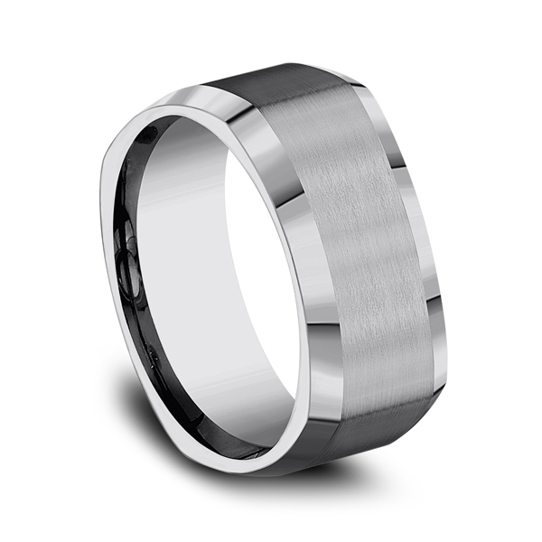 Men's Alternative Metal Wedding Bands - Tungsten Comfort-Fit Design Wedding Band - image 2
