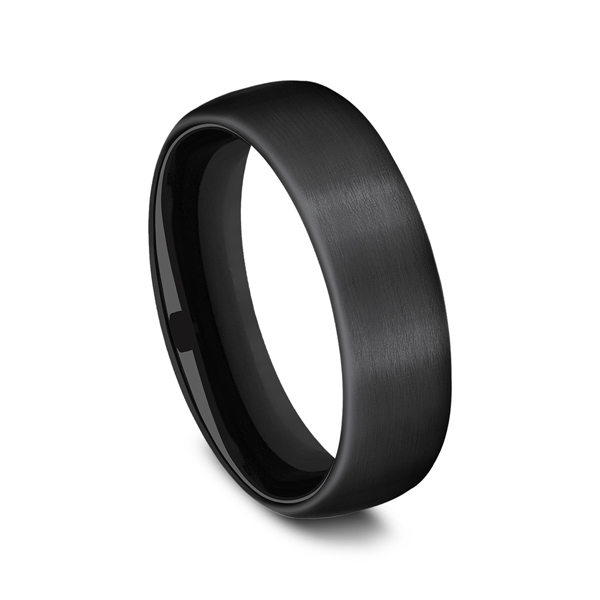 Men's Wedding Bands - Black Titanium Comfort-Fit Design Wedding Band - image #2