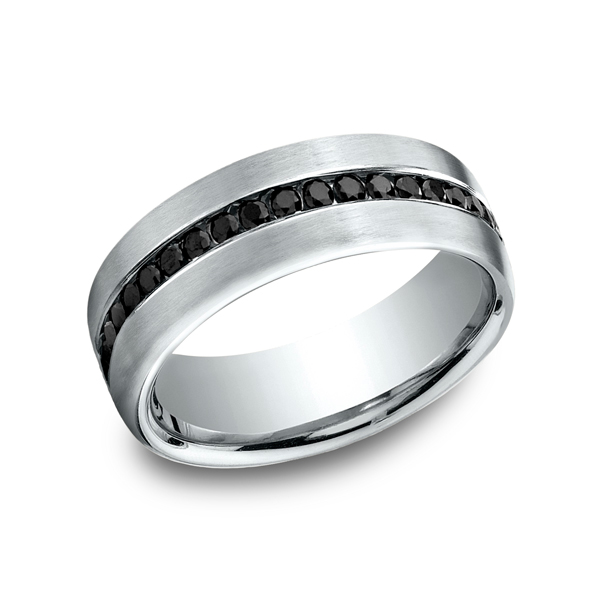 Men's Wedding Bands - 7.5 mm Comfort-Fit Black Diamond Ring - image #3