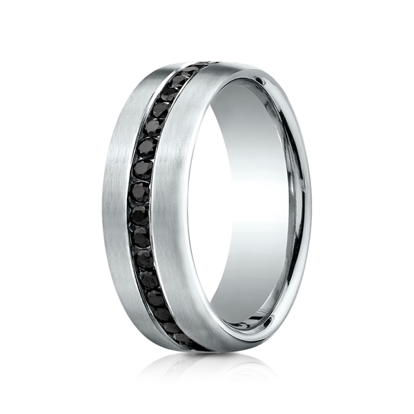 Men's Wedding Bands - 7.5 mm Comfort-Fit Black Diamond Ring - image #2