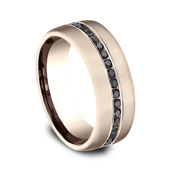 Wedding Bands - Comfort-Fit Black Diamond Wedding Ring - image 2