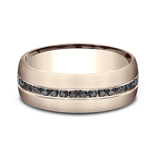 Wedding Bands - Comfort-Fit Black Diamond Wedding Ring - image 3