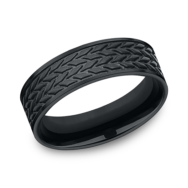 Wedding Bands - Blackened Cobalt Comfort-Fit Design Ring
