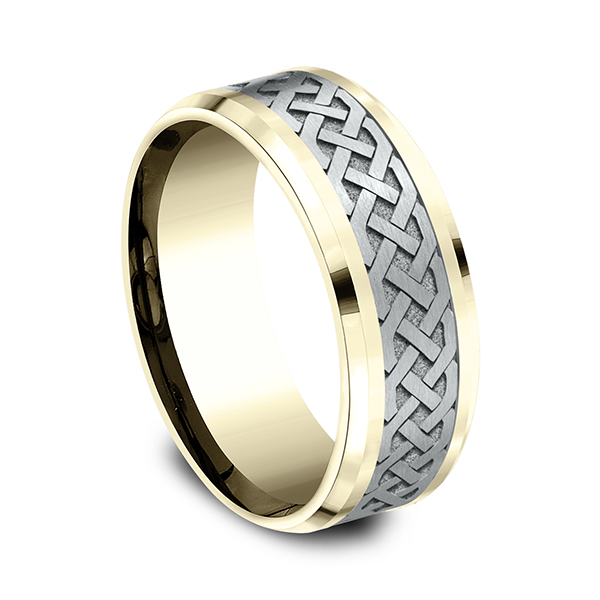 Wedding Bands - Two-Tone Comfort-Fit Design Wedding Band - image 2