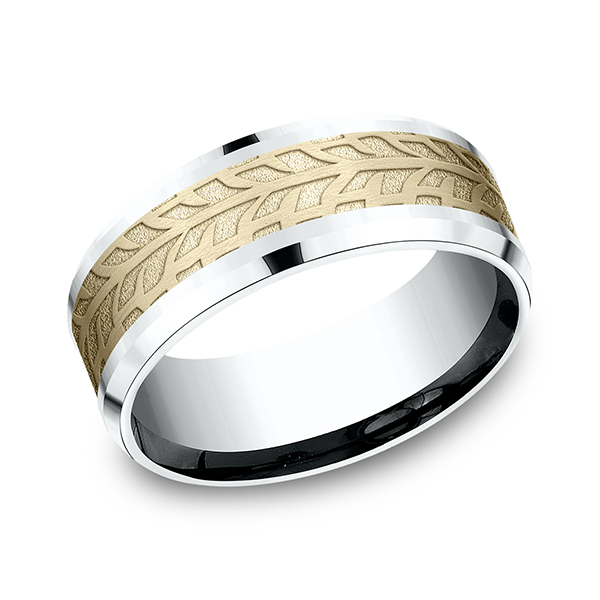 Men's Wedding Bands - Two-Tone Comfort-Fit Design Ring - image 3
