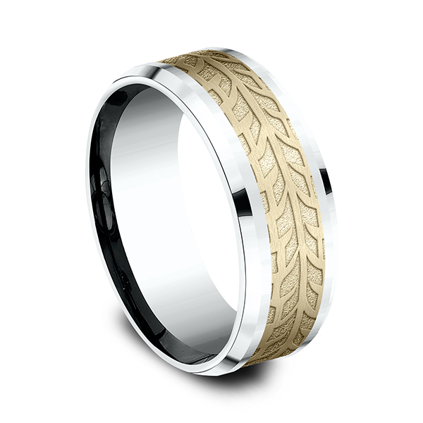 Wedding Bands - Two-Tone Comfort-Fit Design Ring - image 2