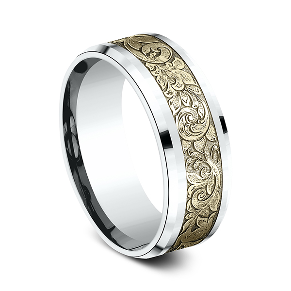 Rings - Two Tone Comfort-Fit Design Wedding Ring - image 2