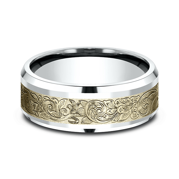 Rings - Two Tone Comfort-Fit Design Wedding Ring - image #3