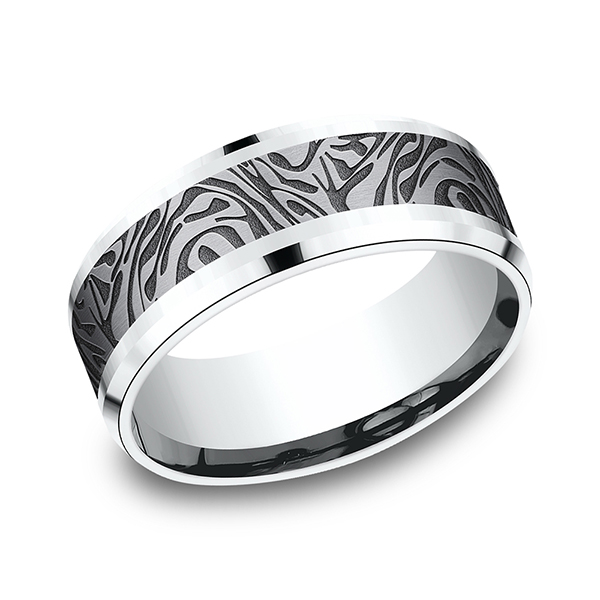 Men's Wedding Bands - Ammara Stone Comfort-fit Design Ring
