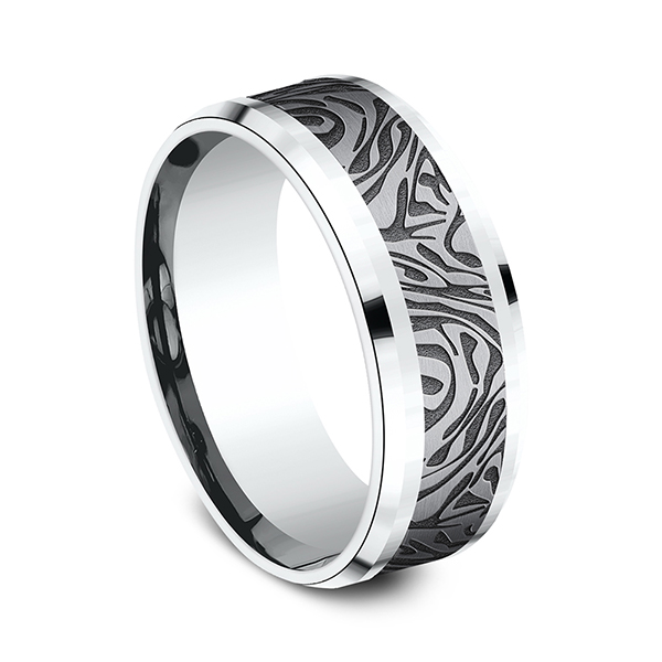Alternative Metals - Ammara Stone Comfort-fit Design Ring - image #2