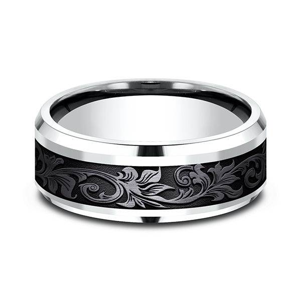 Men's Wedding Bands - Ammara Stone Comfort-fit Design Ring - image 3