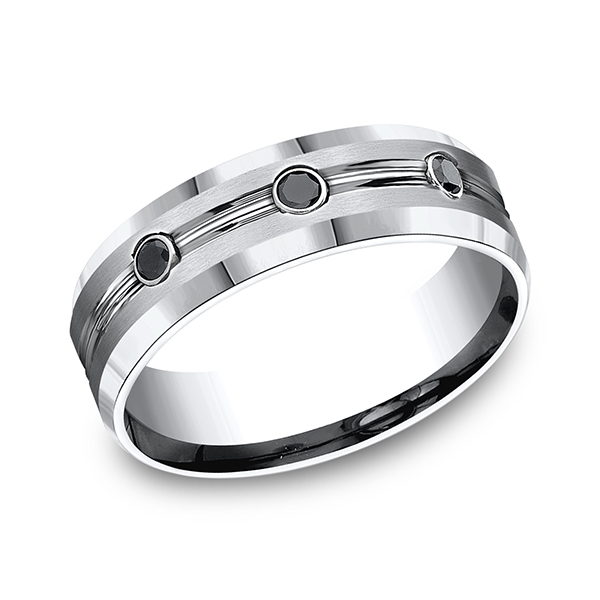 Rings - Cobalt Comfort-Fit Black Diamond Wedding Ring