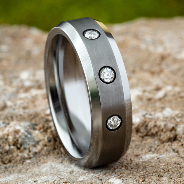 Wedding Bands - Tungsten Comfort-Fit Design Diamond Wedding Band - image #4