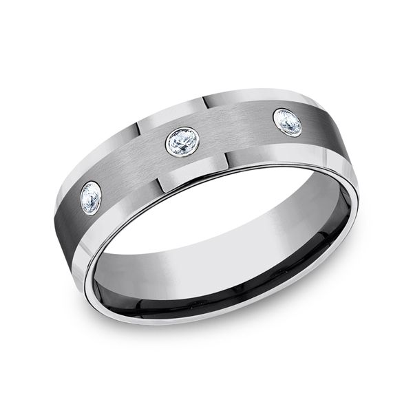 Men's Alternative Metal Wedding Bands - Tungsten Comfort-Fit Design Diamond Wedding Band