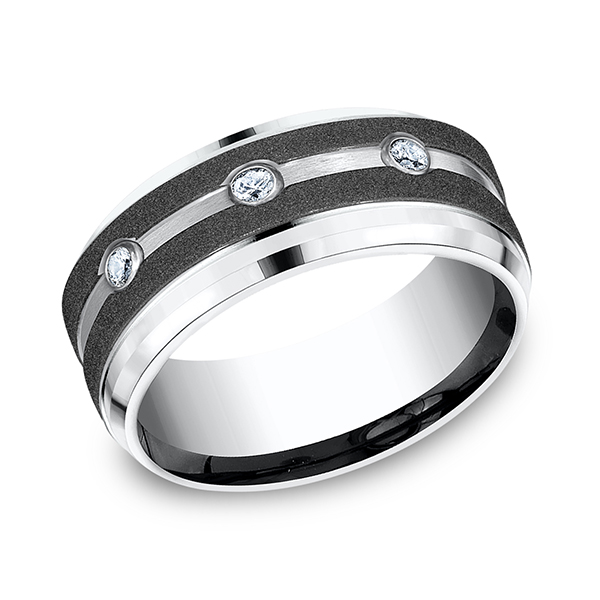 Wedding Bands - Cobalt Comfort-Fit Diamond Wedding Ring