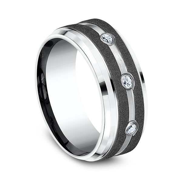 Wedding Bands - Cobalt Comfort-Fit Diamond Wedding Ring - image #2