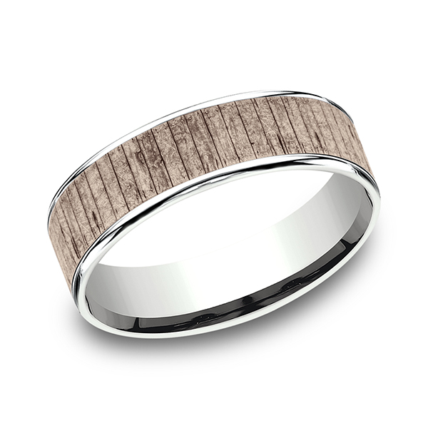 Wedding Bands - Two Tone Comfort-Fit Design Wedding Ring