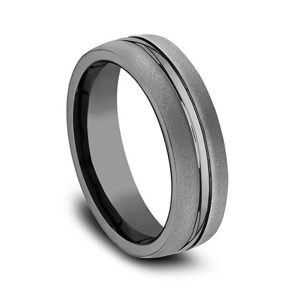 Men's Wedding Bands - Tantalum Comfort-fit Design Ring - image #3