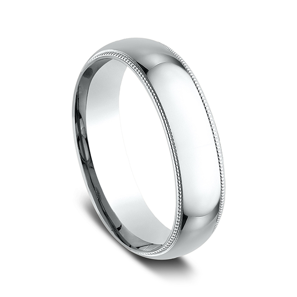 Wedding Bands - Milgrain Standard Comfort Fit Ring - image #2