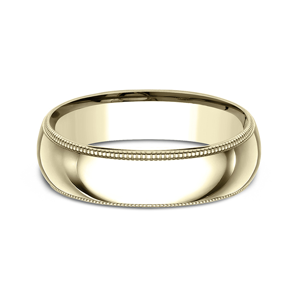 Wedding Bands - Milgrain Standard Comfort Fit Ring - image #3
