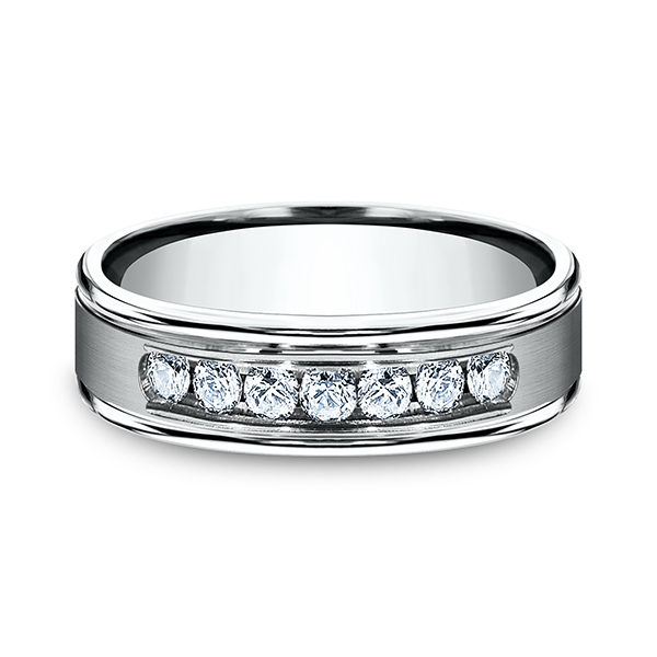 Men's Wedding Bands - Comfort-Fit Diamond Ring - image 3