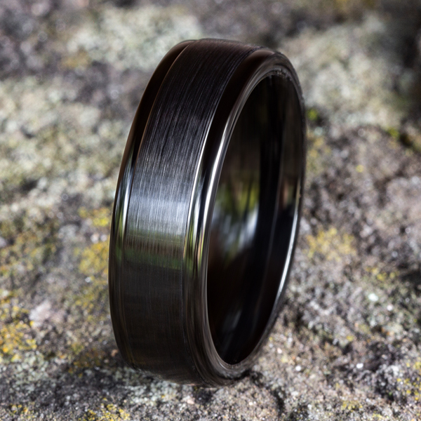 Wedding Bands - Black Titanium Comfort-Fit Design Wedding Band - image #4