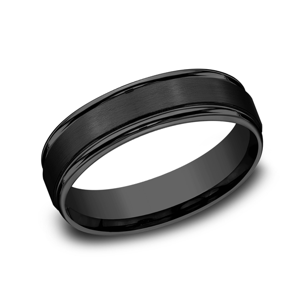 Men's Wedding Bands - Black Titanium Comfort-Fit Design Wedding Band