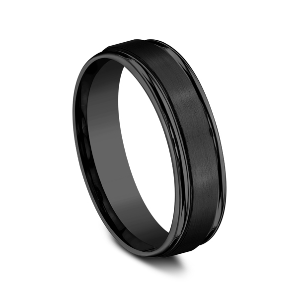 Men's Wedding Bands - Black Titanium Comfort-Fit Design Wedding Band - image 2