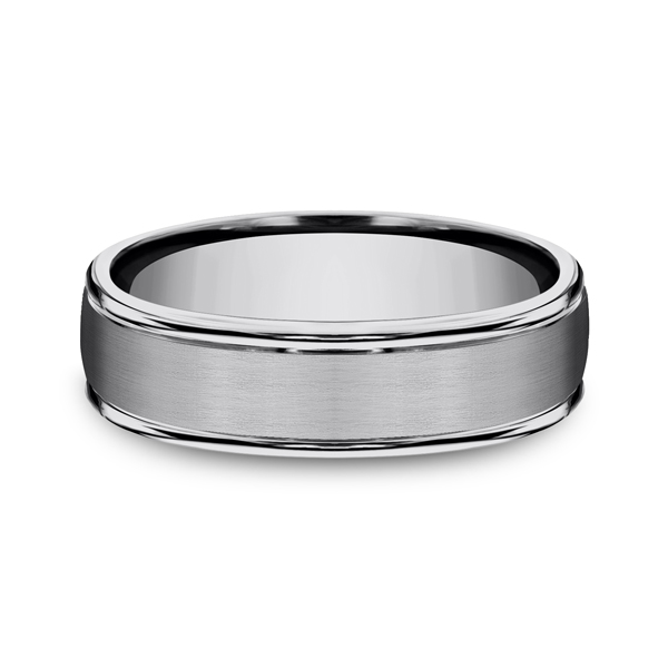 Men's Wedding Bands - Tungsten Comfort-Fit Design Wedding Band - image 3