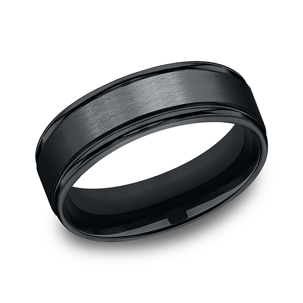 Wedding Bands - Black Cobalt Chrome Comfort-Fit Design Wedding Band