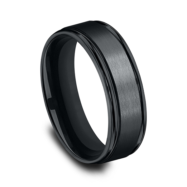 Wedding Bands - Blackened Cobalt Comfort-Fit Design Ring - image 3