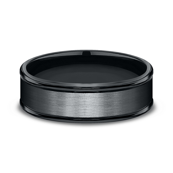 Wedding Bands - Black Cobalt Chrome Comfort-Fit Design Wedding Band - image 3
