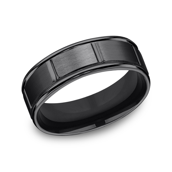 Black Titanium Comfort-Fit Design Wedding Band by Forge