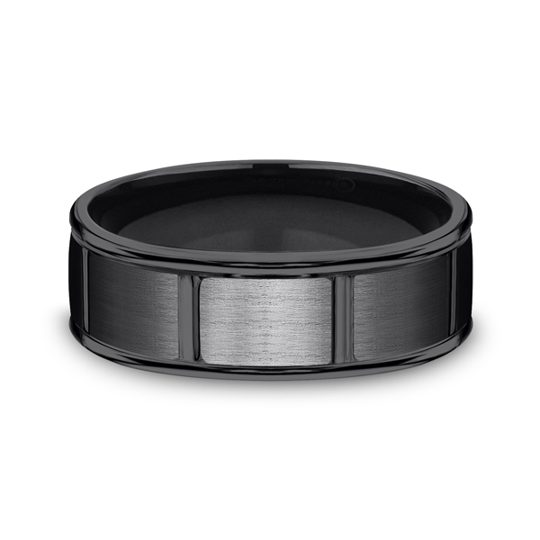 Men's Wedding Bands - Black Titanium Comfort-Fit Design Wedding Band - image 3